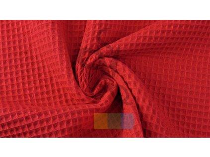 bavlněná látka - vafle - červená