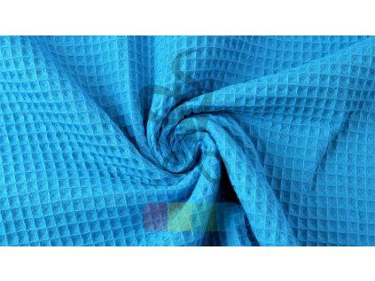 bavlněná látka - vafle - modrá