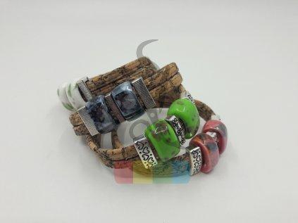 náramek se dvěma keramickými perlami - různé barvy