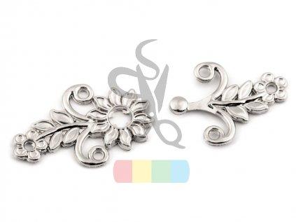 zapínání kytička  - stříbrné