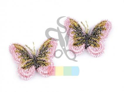 nášivka motýlek - růžová