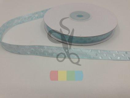 saténová stuha s puntíky 12 mm - světle modrá