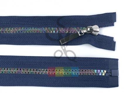 duhový kostěný zip šíře 5 mm, dělitelný modrý - různé délky