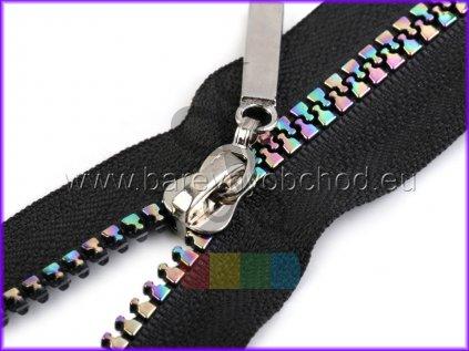 duhový kostěný zip šíře 5 mm, dělitelný černý - různé délky