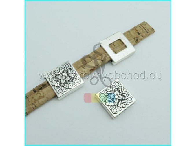 kytička ve čtverci pro plochý pásek 10 mm - stříbrná