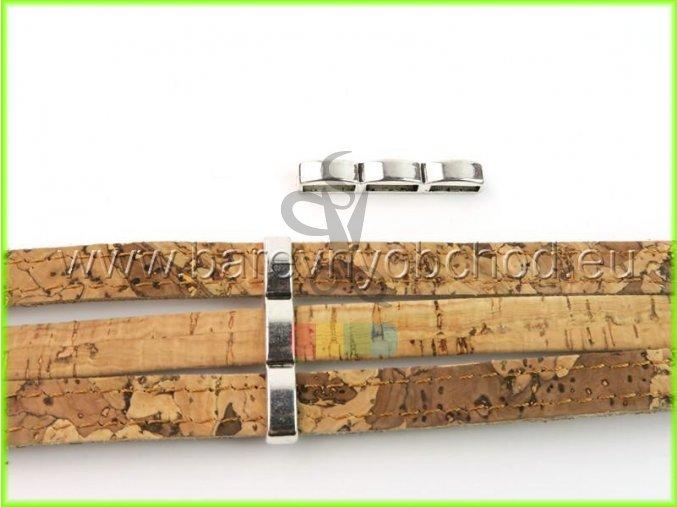 spojka trojitá úzká pro plochý pásek 10 mm - stříbrná