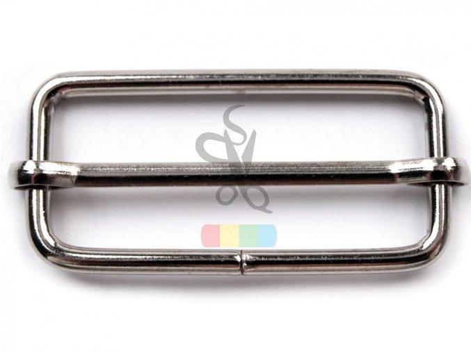 zkracovač kovový na popruhy 38 x 17 mm - stříbrný
