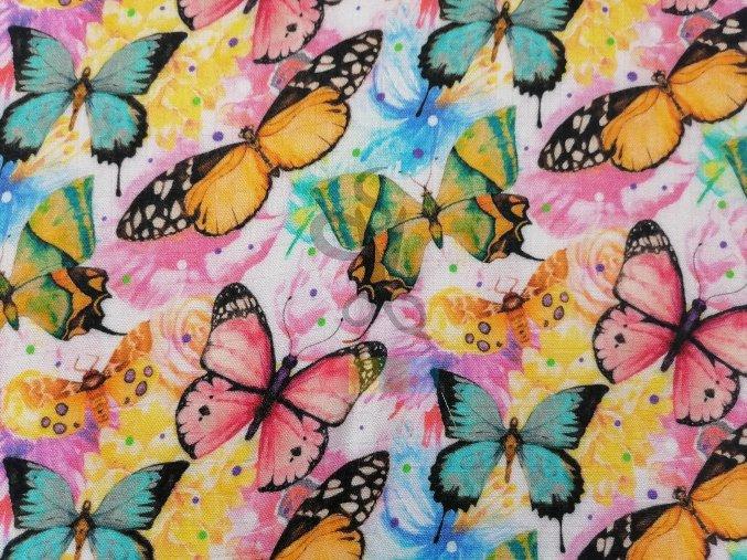 bambusový mušelín - barevní motýlci