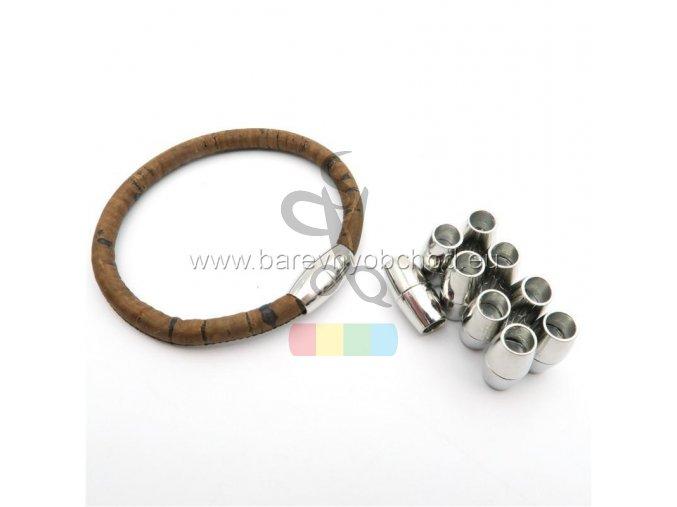magnetické zapínání pro kulatou šňůru 5 mm - stříbrné