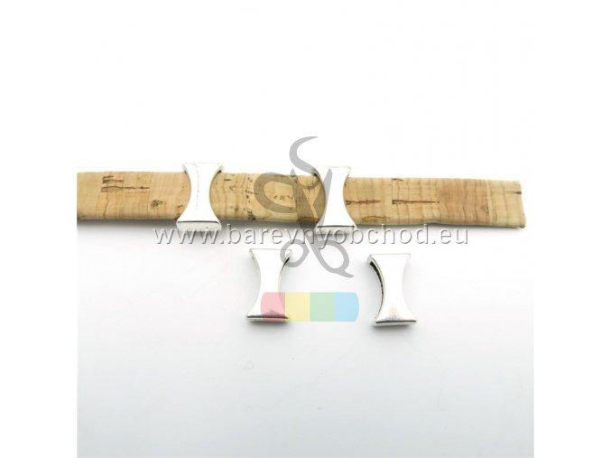 návlek prohnutý pro plochý pásek 10 mm - stříbrné