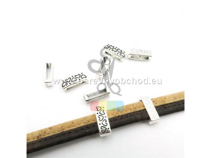 návlek srdíčka pro plochý pásek 10 mm - stříbrné