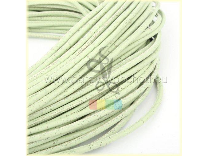 korková šňůra kulatá, průměr 3 mm - světle zelená