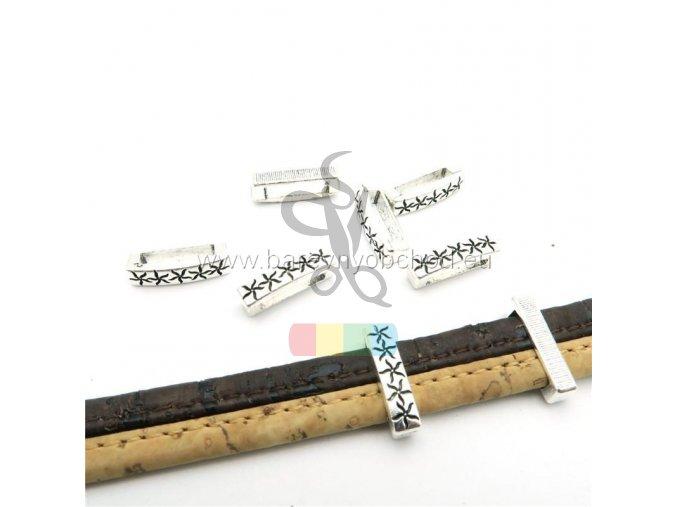 návlek hvězdičky pro plochý pásek 10 mm - stříbrný