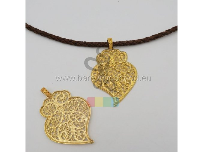 přívěšek - velké zdobené srdce - zlaté