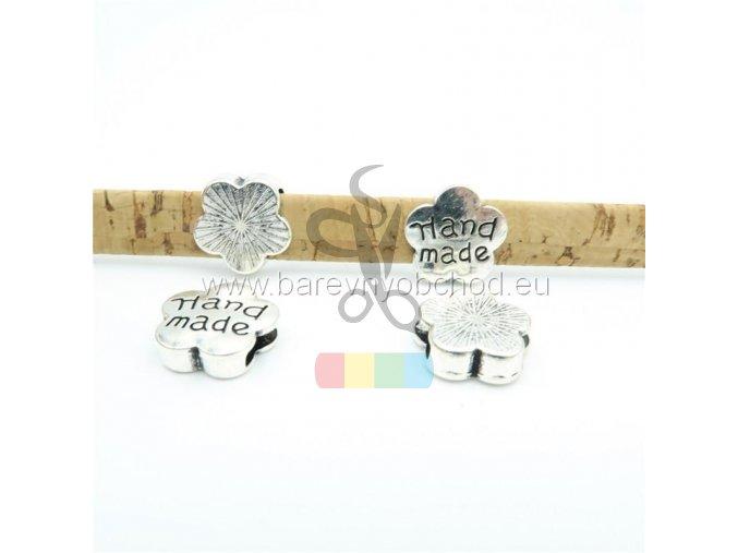 kytička s nápisem HAND MADE pro plochý pásek 10 mm - stříbrná