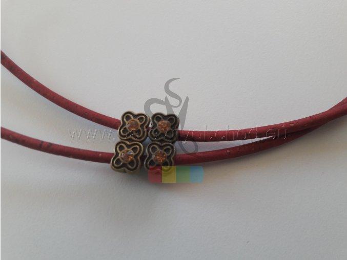 korková šňůra kulatá, průměr 3 mm - vínově červená