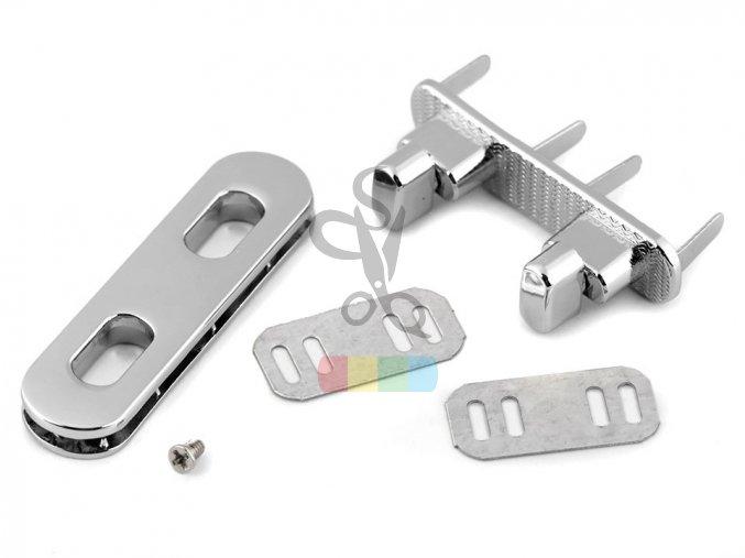 zapínání na kabelku dvojité 15x55 mm - stříbrné