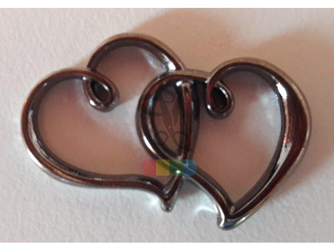 spojená srdce - černý chrom