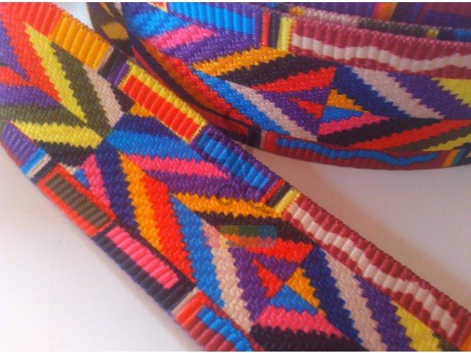 popruh polyesterový 5 cm, vzor ETNO