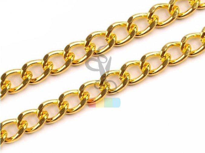 řetízek na kabelky bez karabiny - 120 cm - zlatý