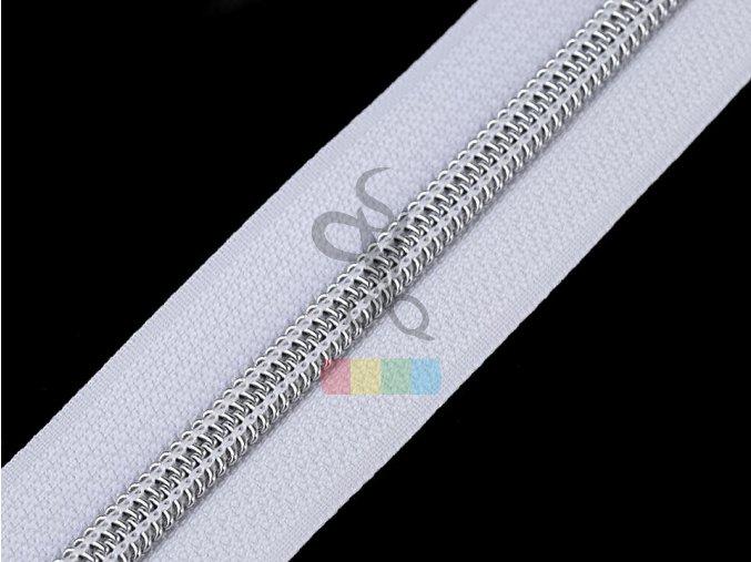 zip spirálový v metráži 5 mm - bílý - stříbrné zuby