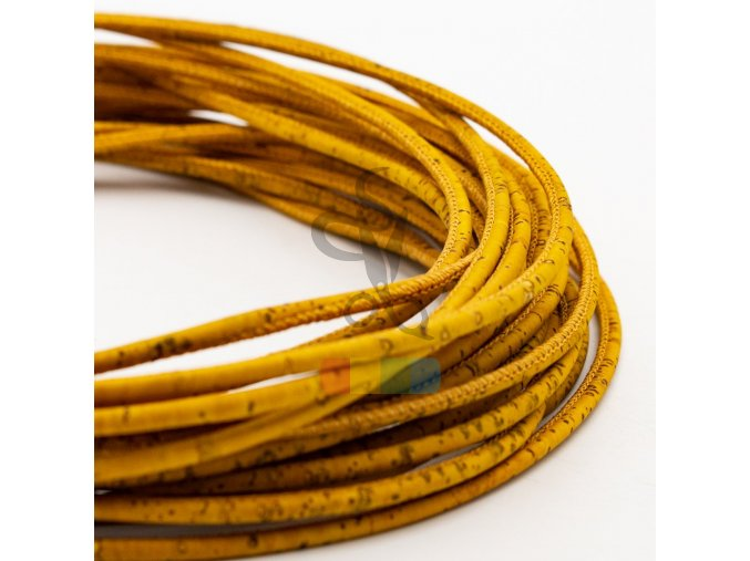 korková šňůra kulatá, průměr 3 mm -  žlutohnědá