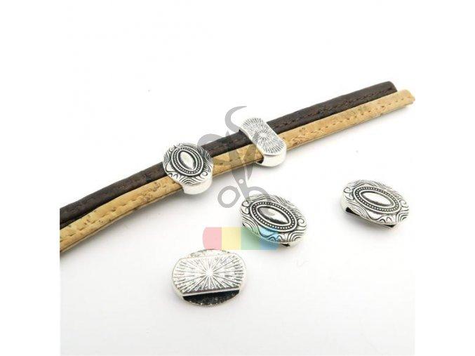 návlek oválný pro plochý pásek 10 mm - stříbrný