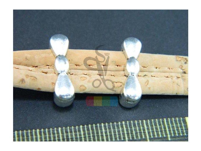 návlek  mašlička pro plochý pásek 10 mm - stříbrný