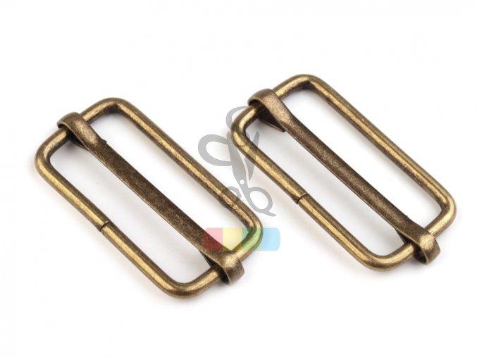 zkracovač kovový na popruhy 33 x 15 mm - mosazný