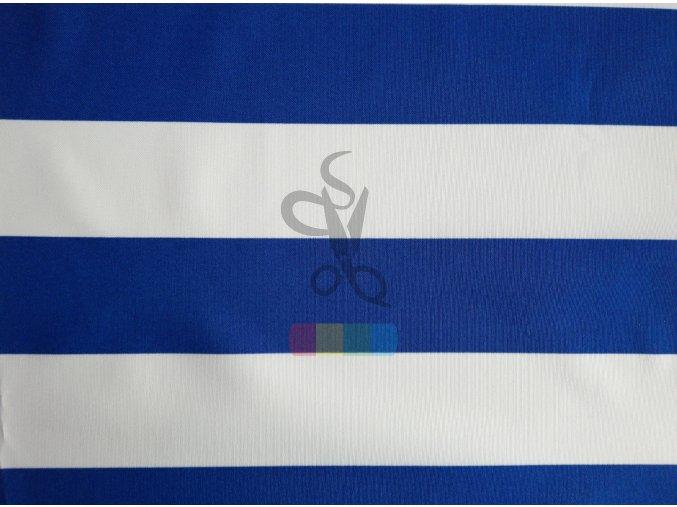 kočárkovina - bílé a modré pruhy