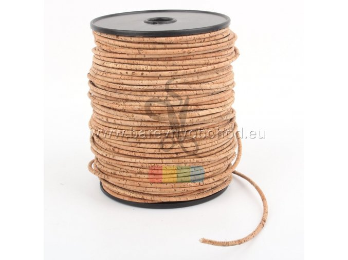 korková šňůra kulatá, průměr 3 mm - hnědá (přírodní)