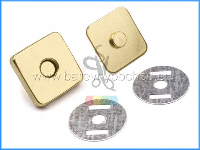 magnetické zapínání 18 x 18 mm čtverec zlatá