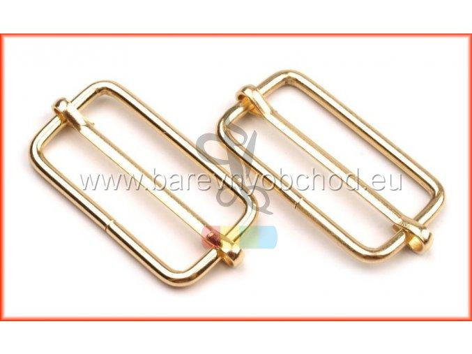 zkracovač kovový na popruhy 33 x 15 mm - zlatý