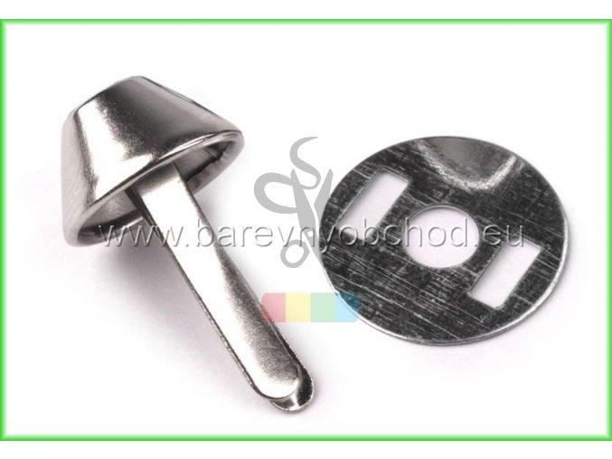Dvounožkový hřeb (nožky ke kabelce) 12x22 mm s plíškem - nikl
