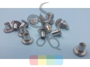 opaskový šroubek oboustranný 6 mm - stříbrný