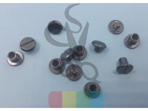opaskový šroubek oboustranný 6 mm - černý nikl