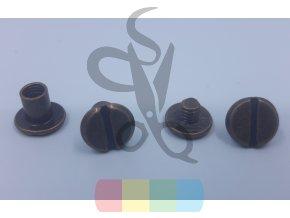 opaskový šroubek oboustranný 6 mm - mosazný