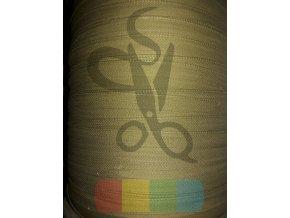 bavlněný tkaloun - zdrhovadlovka - 12 mm - khaki
