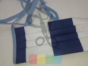 rouška skládaná s tkaničkami  - modro-bílé pruhy