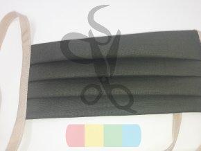 rouška skládaná s tkaničkami  - khaki