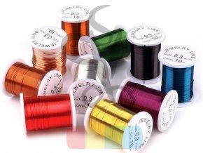 dekorační drátek 0,3 mm, návin 10 m - různé barvy