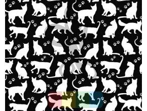 bawelna kotki kontury biale na czarnym tle
