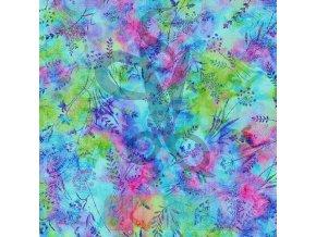 bavlněná látka - Butterfly Paradise - rostliny - pestrobarevná
