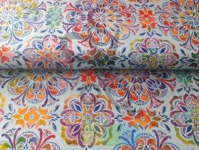 bavlněná látka - Butterfly Paradise - ornamenty - modrá