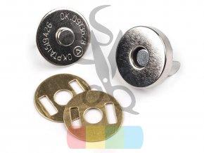magnetické zapínání kulaté, průměr 15 mm, stříbrná
