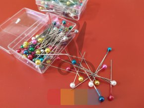 špendlíky s plastovou hlavičkou - barevné - 100 ks