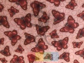 """bavlněná látka -  """"Gorjus"""" - motýlci - růžová"""