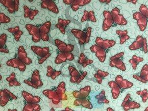 """bavlněná látka -  """"Gorjus"""" - motýlci - zelená"""
