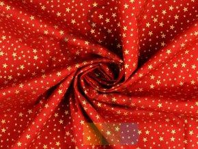 vánoční bavlněná látka se zlatými hvězdami - červená