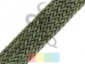 splétaný popruh, šíře 3 cm, barva - khaki
